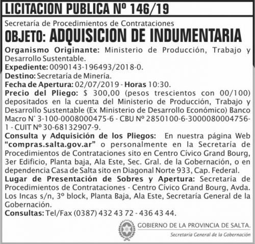 Licitación: Licitacion Publica 146 SGG MPTDS