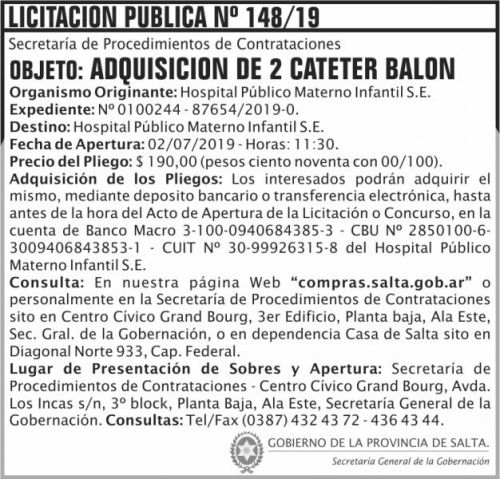 Licitación: Licitacion Publica 148 SGG HPM