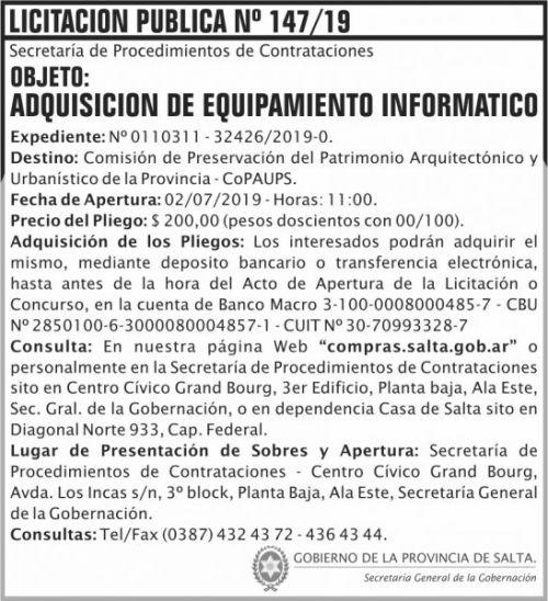 Licitación: Licitacion Publica 147 SGG