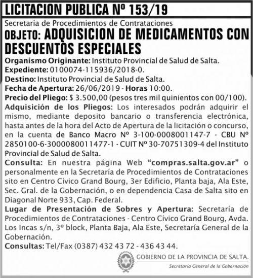 Licitación: Licitacion Publica 153 SGG IPS