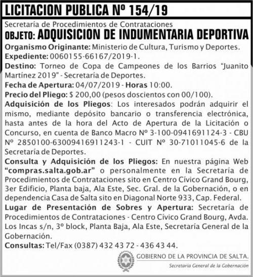 Licitación: Licitacion Publica 154 SGG MCTD