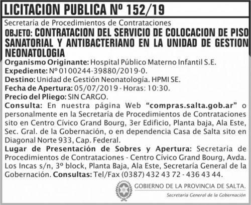 Licitación: Licitacion Publica 152 SGG HPMI