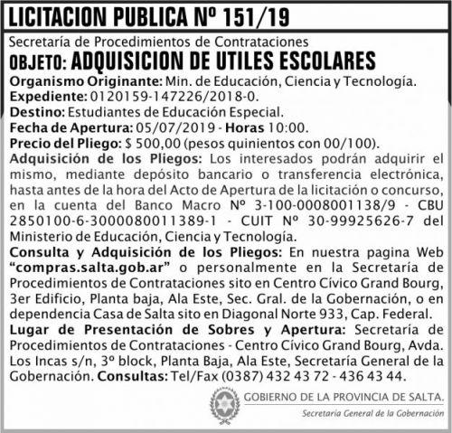Licitación: Licitacion Publica 151 SGG MECT