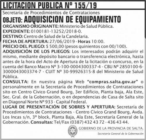 Licitación: Licitacion Publica 155 SGG MSP