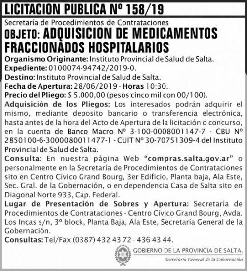 Licitación: Licitacion Publica 158 SGG IPS