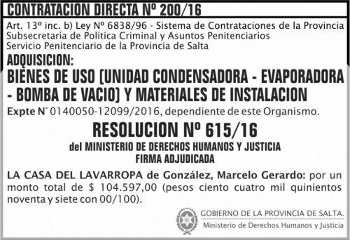 Compra Directa: Contratación Directa Nº 200/16