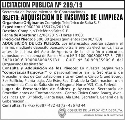 Licitación: Licitacion Publica 209 SGG CTS