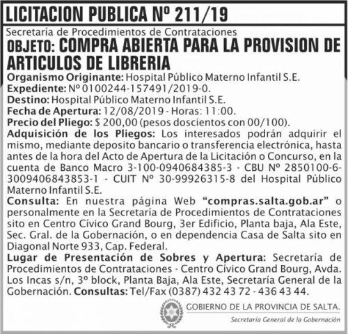 Licitación: Licitacion Publica 211 SGG HPMI