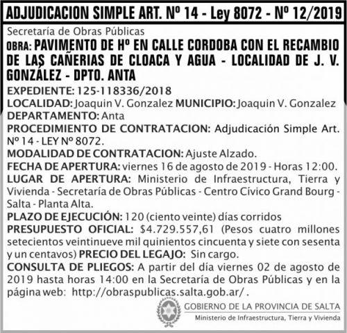 Licitación: Adjudicación Simple Nº 12 ART 14 MITV