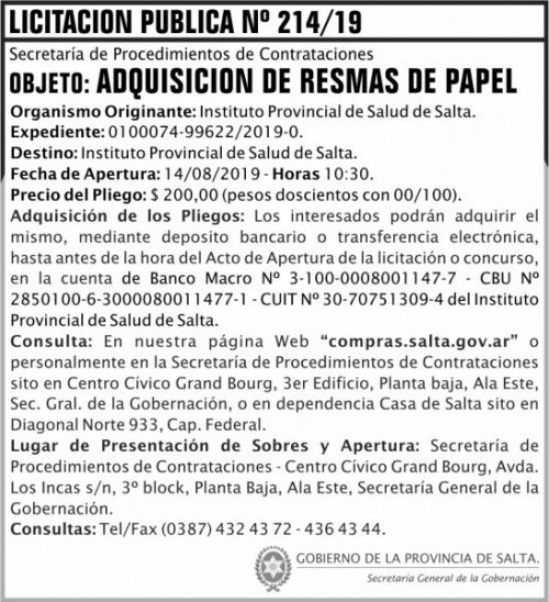 Licitación: Licitacion Publica 214 SGG IPS