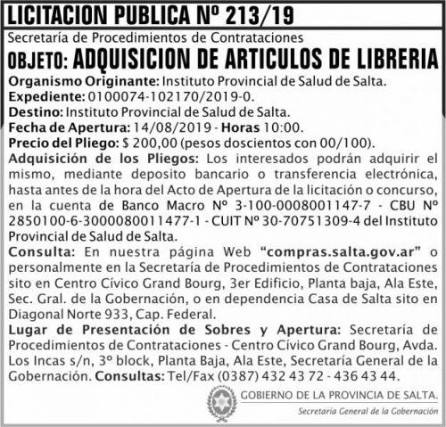 Licitación: Licitacion Publica 213 SGG IPS