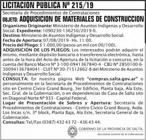 Licitación: Licitacion Publica 215 SGG MAIDS