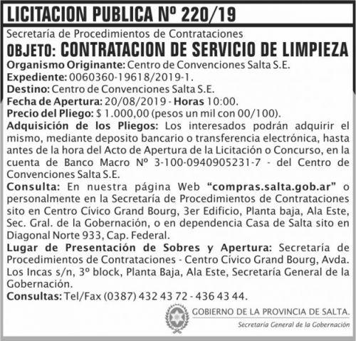Licitación: Licitacion Publica 220 SGG CCS