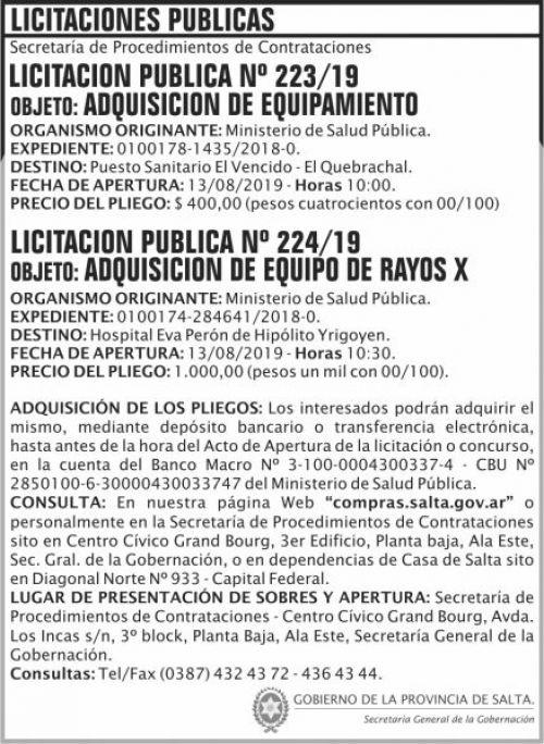 Licitación: Licitacion Publica 223 224 SGG MSP