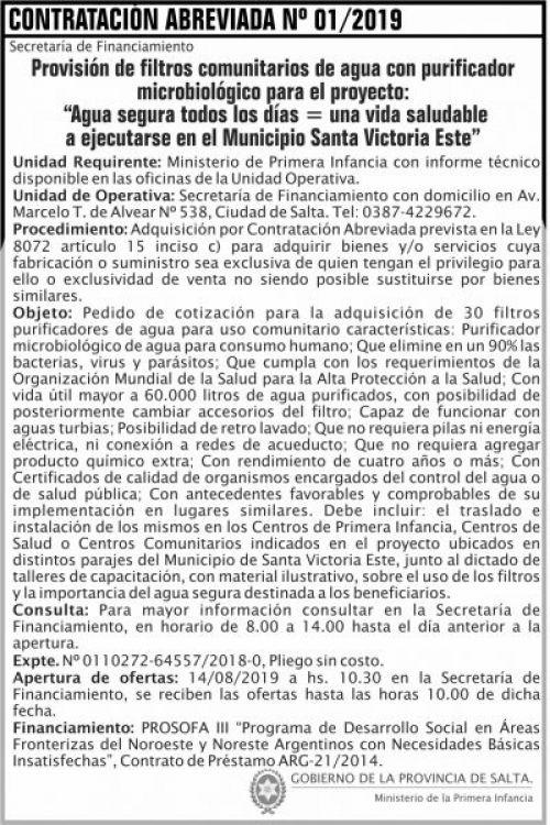 Licitación: Contratacion Abreviada 01 MPI