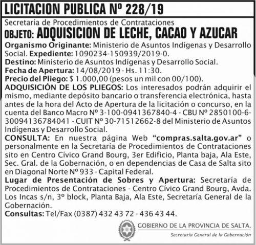 Licitación: Licitacion Publica 228 SGG MAIDS