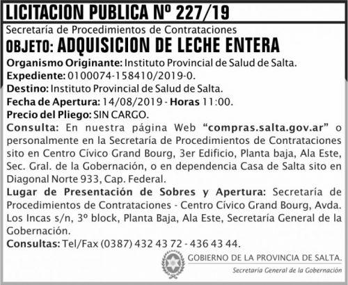 Licitación: Licitacion Publica 227 SGG IPS