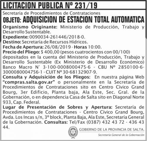 Licitación: Licitacion Publica 231 SGG MPTDS