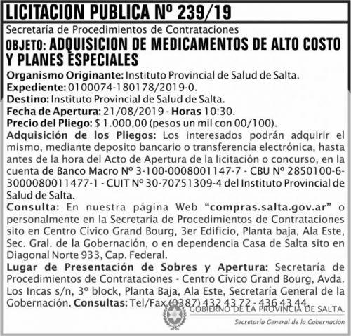Licitación: Licitacion Publica 239 SGG IPS