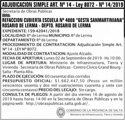 Licitación: Adjudicación Simple Nº 14 ART 14 MITV