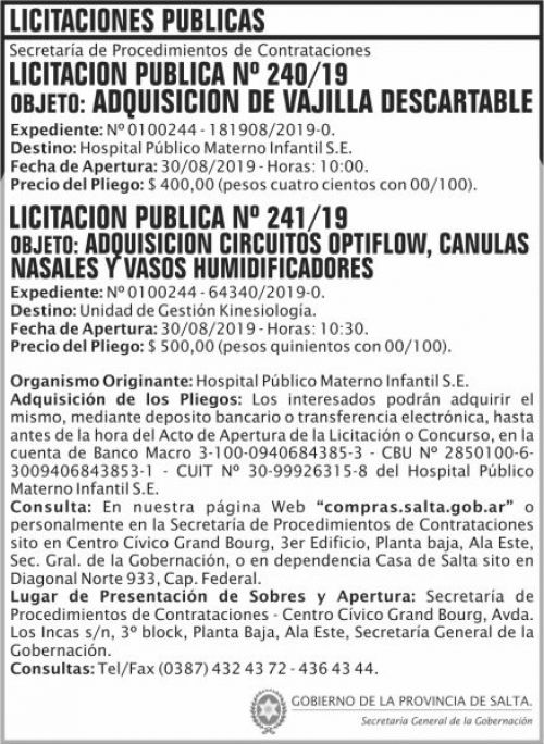 Licitación: Licitacion Publica 240 y 241 SGG HPM