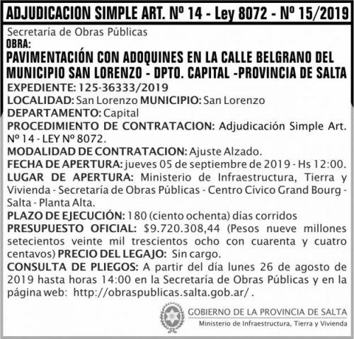 Licitación: ADJUDICACION SIMPLE N 15
