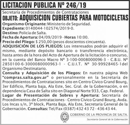 Licitación: Licitacion Publica 246
