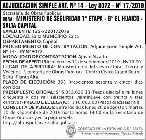 Licitación: Adjudicación Simple Nº 17 ART 14 MITV
