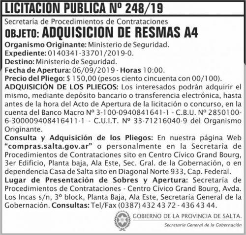 Licitación: Licitacion Publica 248 SGG MS