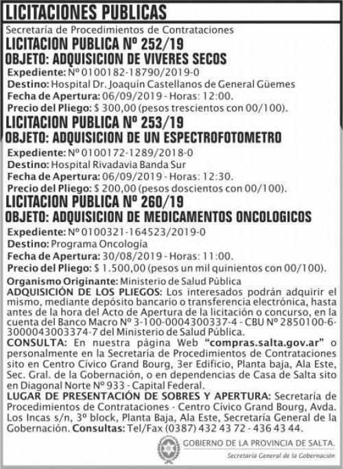 Licitación: Licitaciones Publicas 252 253 260 SGG MAIDS