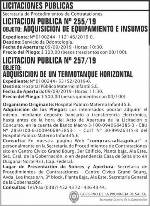 Licitación: Licitacion Publica 255 y 257 SGG HPMI