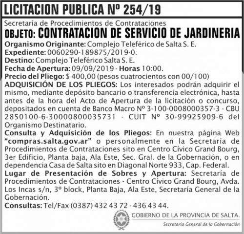 Licitación: Licitacion Publica 254 SGG CTS