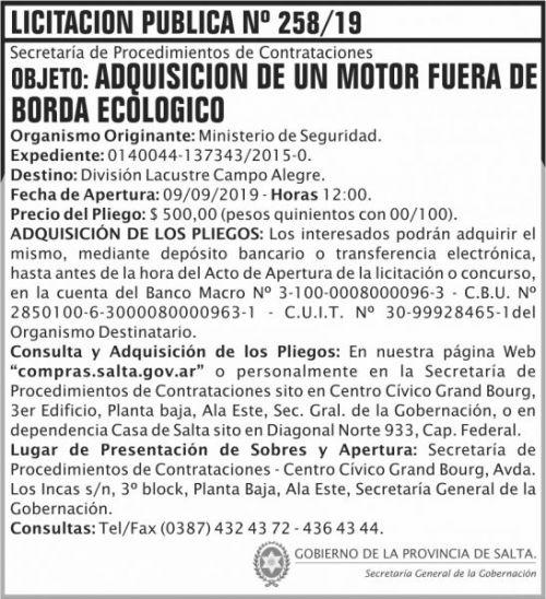 Licitación: Licitacion Publica 258 SGG MS