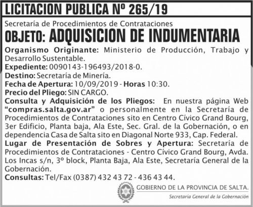 Licitación: Licitacion Publica 265 SGG MPTDS