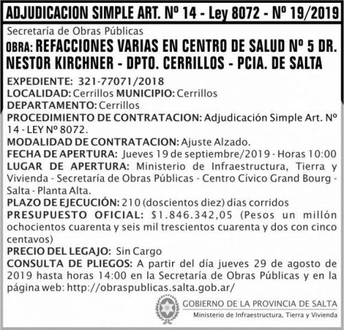 Licitación: Adjudicación Simple Nº 19 ART 14 MITV