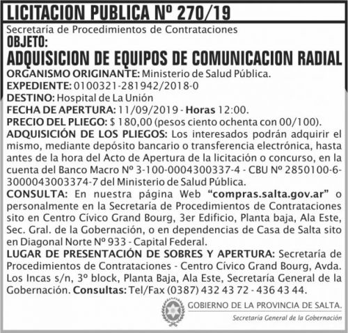 Licitación: Licitacion Publica 270 SGG MSP