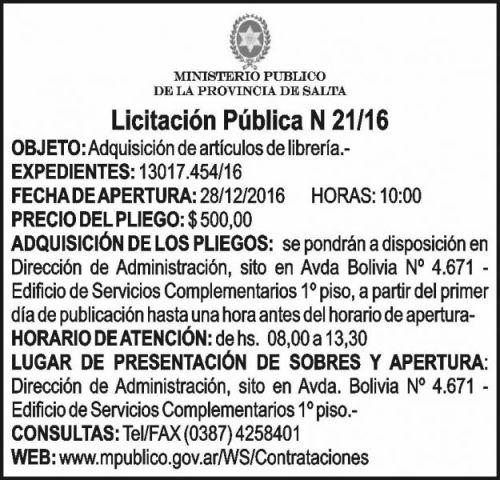 Licitación: Licitación Pública Nº 21/16