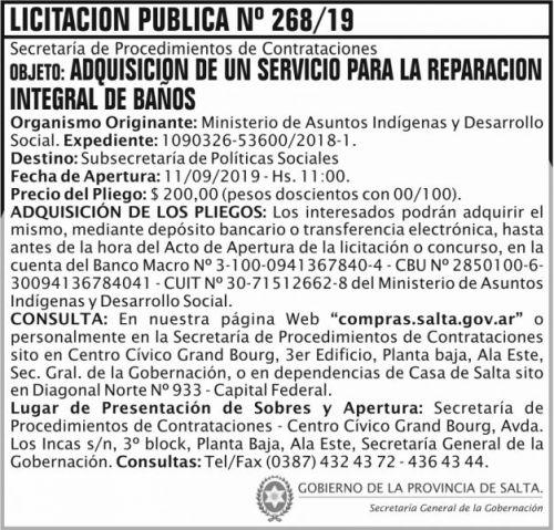 Licitación: Licitacion Publica 268 SGG MAIDS