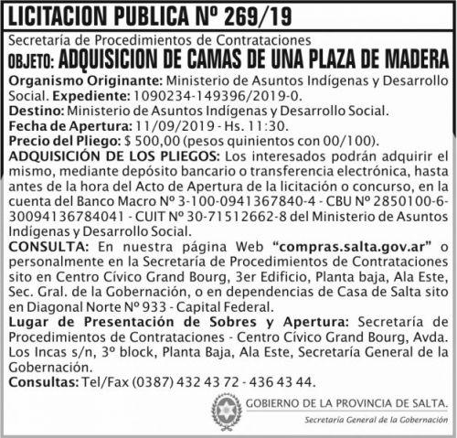 Licitación: Licitacion Publica 269 SGG MAIDS