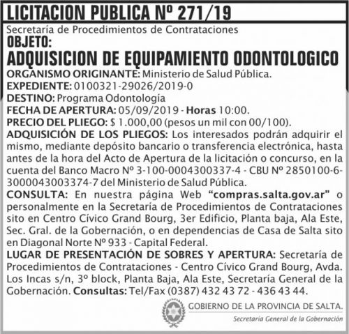 Licitación: Licitacion Publica 271 SGG MSP