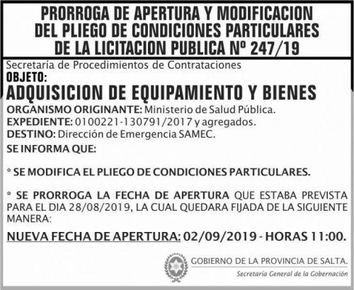 Licitación: PRORROGA y MODIFICACION Licitacion Publica 247 SGG MSP