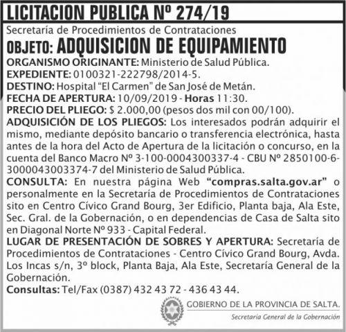 Licitación: Licitacion Publica 274 SGG MSP
