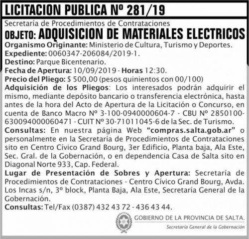 Licitación: Licitacion Publica 281 SGG MCTD