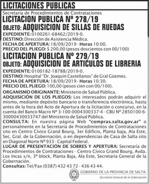 Licitación: Publica 278 279 SGG MSP