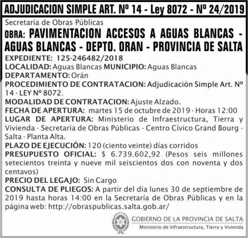 Licitación: Adjudicación Simple Nº 24 ART 14 MITV