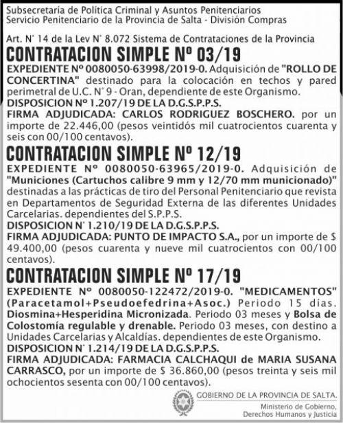 Licitación: Firmas Adjudicad Simple 03 12 y 17 SPPS MDHJ