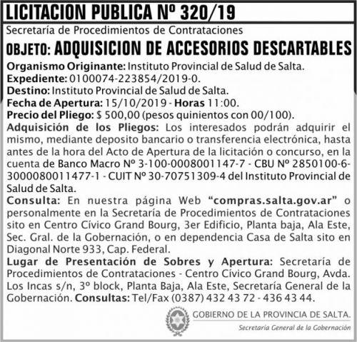 Licitación: Licitacion Publica 320 SGG IPS