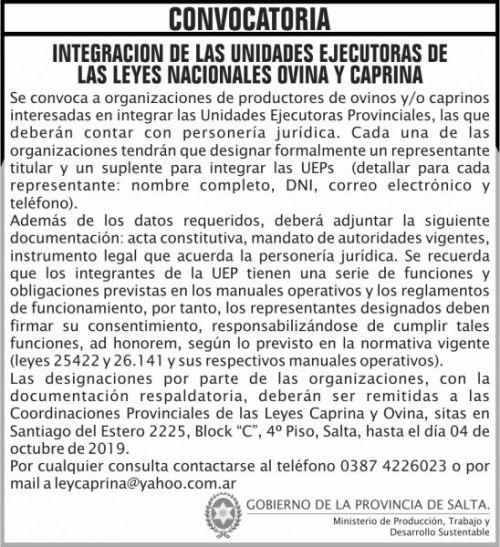 Licitación: Convocatoria Integracion Unidades leyes Ovina y Caprina MPTDS