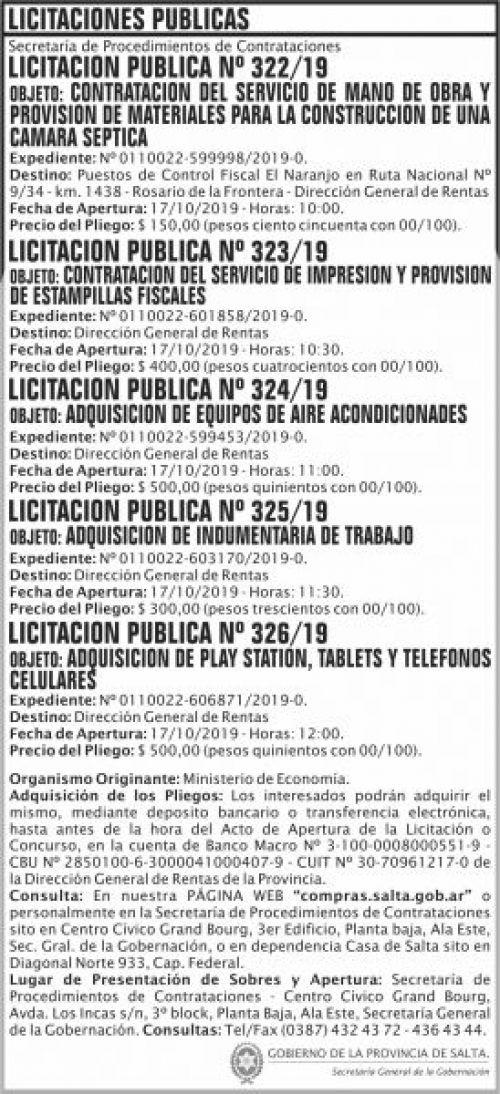Licitación: Licitacion Publica 322 a 326 SGG ME