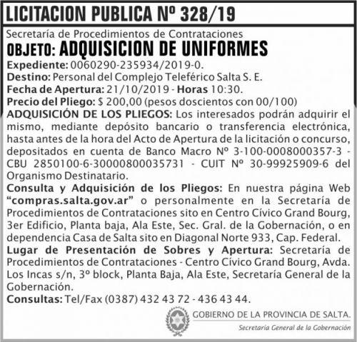 Licitación: Licitacion Publica 328 SGG CTS